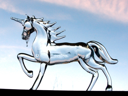 Modern standing crystal clear glass unicorn: