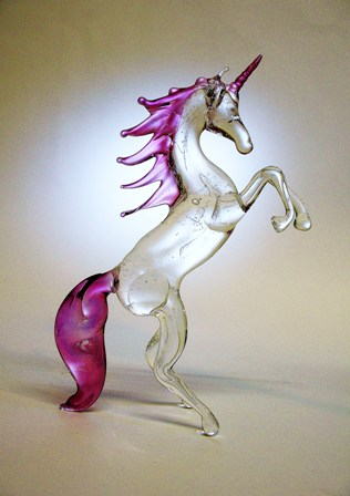 20th century Unicorn made of glass with pink gold coated horn, mane and tail